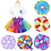 2017 New Baby Girls Princess Skirt Kids Rainbow Tutu Skirts Bow Tie Pettiskirt Tutu Custome Party
