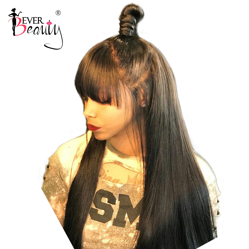 13x6 Lace Front Human Hair Wigs With Bangs Pre Plucked Brazilian Silk Straight Fake Scalp 360 Lace Frontal Wigs Ever Beauty Remy