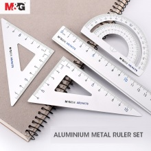 M& G металлическая Геометрическая линейка, набор математических компасов для рисования, канцелярские линейки, карандашные транспортиры, коробка, математические компасы для школы