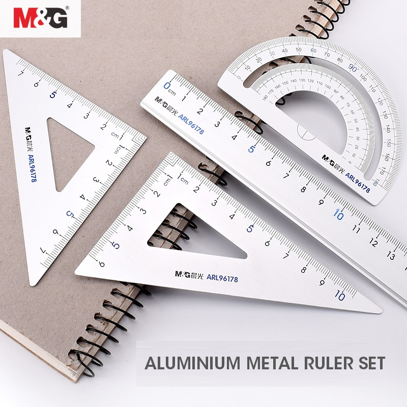 M&G Metal Geometry Ruler Set Maths Drawing Compass Stationery Rulers Pencil Protractor Box Mathematical Compasses For School