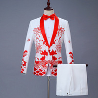 Chinese Men's Chinese Style Suits Groom Suit Costumes Single Breasted Two Piece Set Coat Pant Blue Red Black White Men Suits