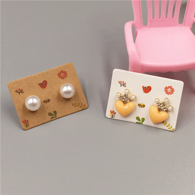 50pcs/lot 3.5x2.5cm Multi Color Paper Cute Stud Earring Hang Tag Card Jewelry Display Packing Card Custom Logo Cost Extra