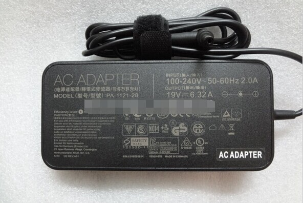 NEW Slim <font><b>120W</b></font> <font><b>19V</b></font> <font><b>6.32A</b></font> Original Genuine AC/DC Adapter Charger for <font><b>ASUS</b></font> K53SV N46 N56 N76 G74SX PA-1121-28 ADP-120ZB BB image
