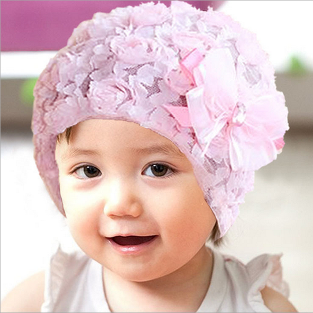 baby girls skullies lace beanies mesh pink purple cap baby flower hat  wholesale GH020 baby hats 891e9ca00735