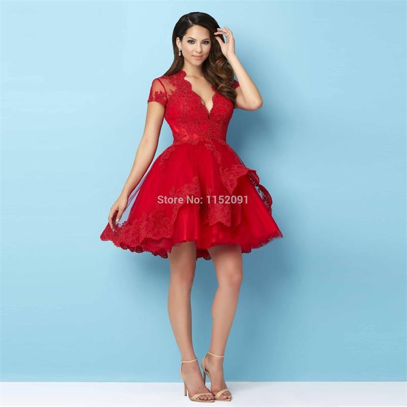 Sexy V Neck Red Lace Short Sleeve Homecoming Dresses 2016 Hot Sale