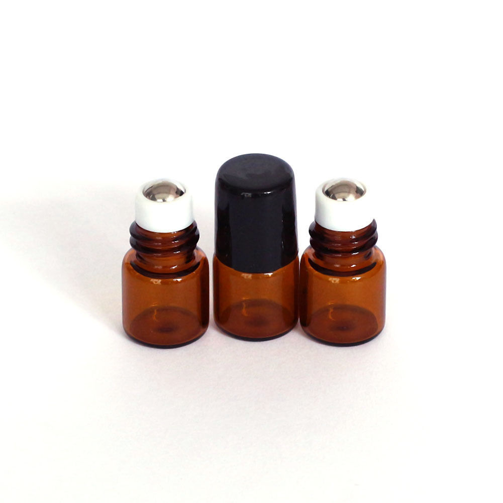 10 Pcs 1ml Empty Brown Glass Bottle Roller Ball Essential Oil Liquid Container alcohol and liquid container bottle white 180ml