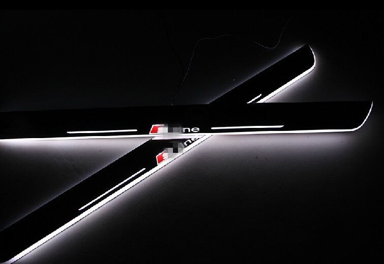 eOsuns Waterproof Acrylic LED moving door scuff door sill light plate Pathway light for audi A4 B7, 2pcs free ship rear door of high quality acrylic moving led welcome scuff plate pedal door sill for 2013 2014 2015 audi a4 b9 s4 rs4