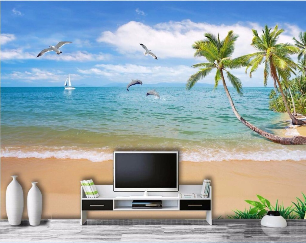 3d wall murals wallpaper for living room walls 3 d photo wallpaper Sea coconut palm beach home decor Custom mural painting custom photo 3d wall murals wallpaper mountain waterfalls water decor painting picture wallpapers for walls 3 d living room
