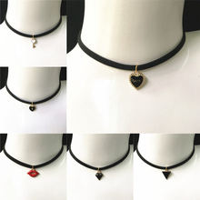 Punk Choker Necklace Vintage Triangle Star Key Love Necklace & Pendant For Women Girls Tattoo Clavicle Chain Jewelry Gifts(China)