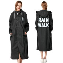 2018 New Fashion Big Size Men And Women Thin Black Rain Coat Poncho Ladies Waterproof Long Slim Raincoat Adults Rainwear
