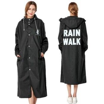 New Fashion Big Size Men And Women Thin Black Rain Coat Poncho Ladies Waterproof Long Slim Raincoat Adults Rainwear