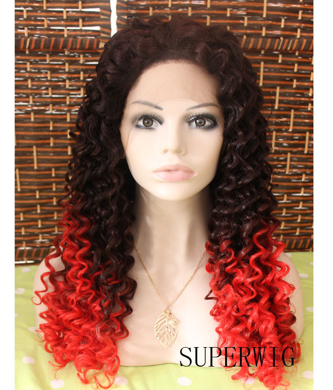 2014 New Long Two Tone Color Ombre Black Root To Red Hair Hand Woven