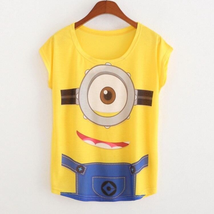 2015 Woman Summer New Yellow 3d Cartoon Camiseta Minions Print T