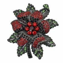 Metal Flower Brooch Pin Crystal Rhinestone Vintage Jewelry Garment Accessory 2016