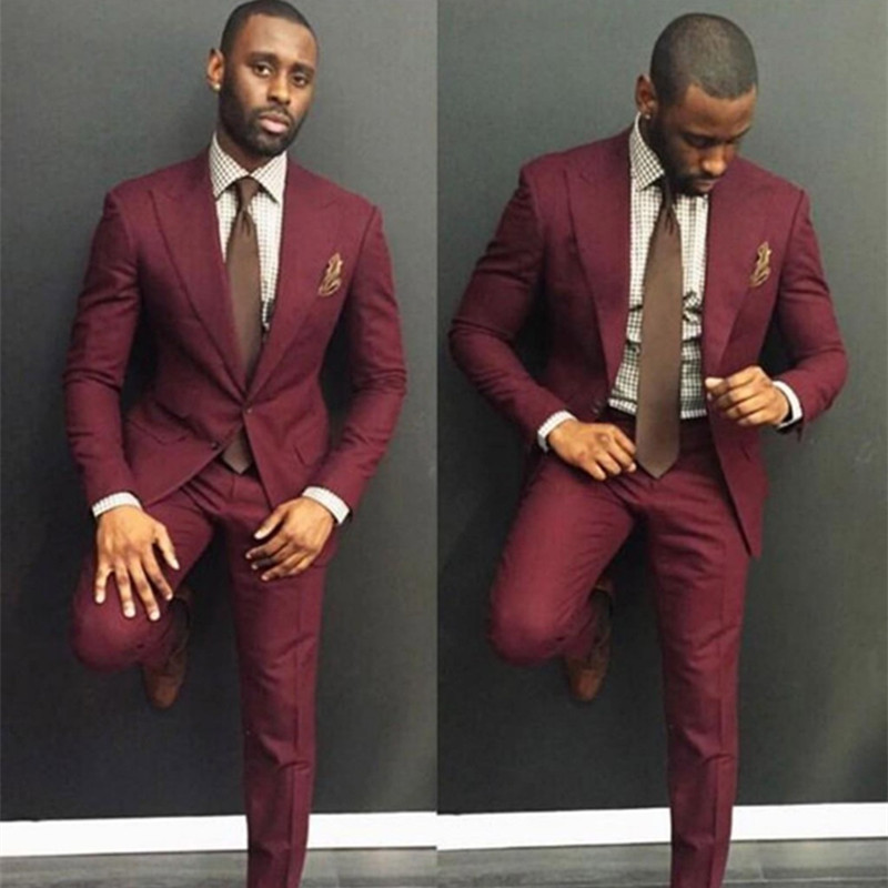 Classy Burgundy Wedding Mens Suits Slim Fit Bridegroom Tuxedos For Men Two Pieces Groom men Suit Cheap Formal Business Jackets