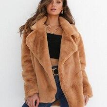a35826fb8f5 2018 Winter Jacket Women Coat Plush Long Sleeve Solid Cardigans Turn-down  Collar Sexy Tunic
