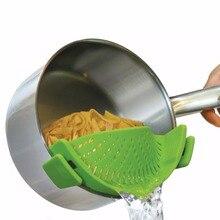 Coladores de silicona Cocina Clip On Pot Escurridor Colador Para Drenar El Exceso de Líquido Univers Drenar Pasta Vegetal Utensilios de Cocina