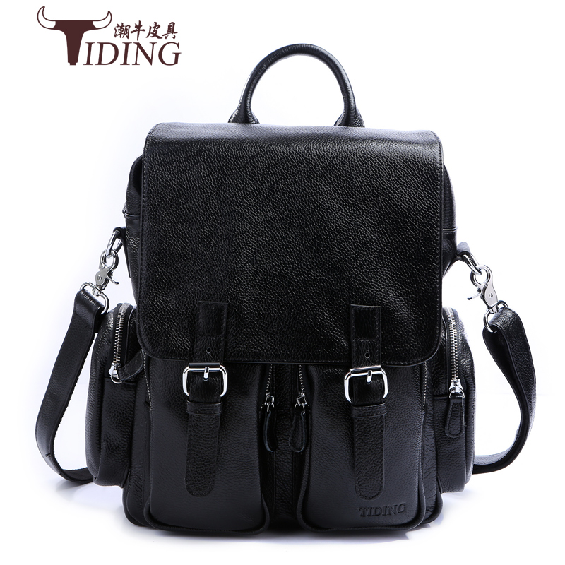 Fashion Brand Vintage Men Business Backpacks Genuine Leather black School bag for teenager Casual Laptop Travel shoulder bags genuine cow leather vintage casual mens women backpack shoulder crossbody bags men travel backpacks for man school laptop bag