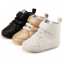Delebao High State Department With Magic Stickers Leather Baby Shoes Rough PU First Walkers Lace-up Soft Sole Baby Boy Shoes