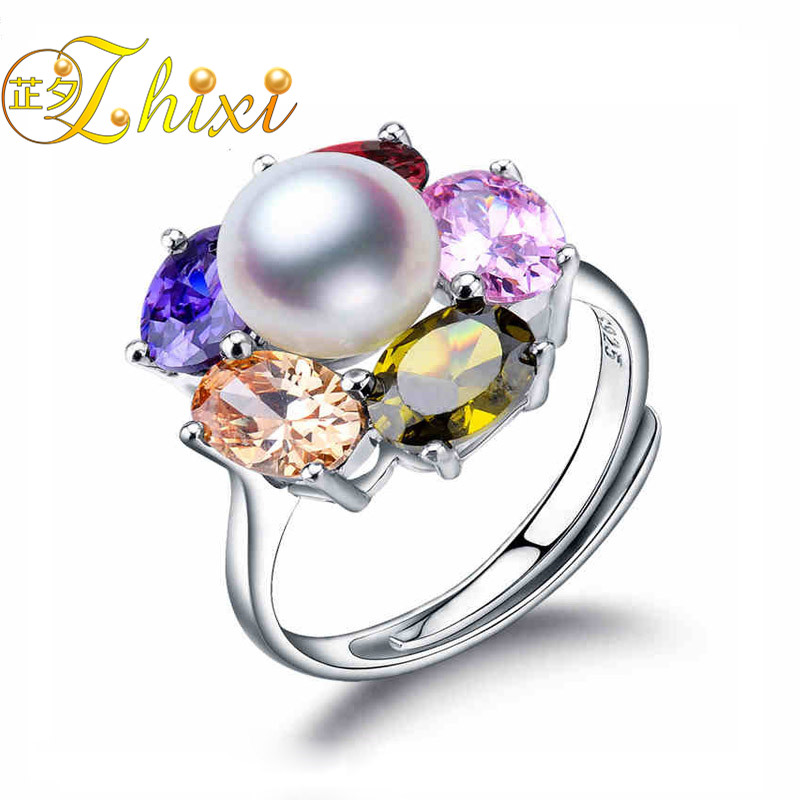 100% real pearl jewelry rings for women 925 sterling