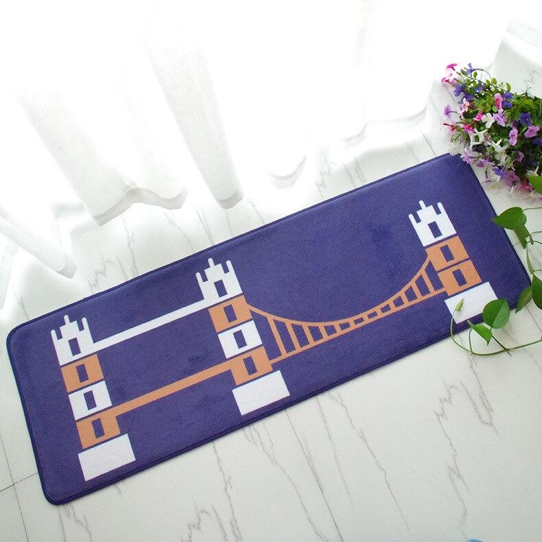 Free Shipping 1 pcs Embroidered printing Non-slip mats Big Door Bathroom Carpet Bedroom Door Soft High Quality Floor Mat BAHE002