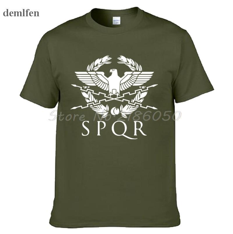 SPQR Roman Gladiator Imperial Golden Eagle T-Shirt Mens Casual Short O-Neck T Shirt Harajuku Tops Tees Shirt Plus Size