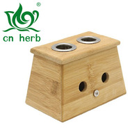 Cn Herb Bamboo Two Hole Healing Box For Moxa Moxibustion Medicine Therapy
