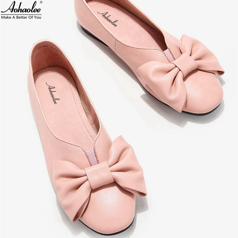 Aohaolee 2 Pairs Round Toe Butterfly Women Fashion Shoes Leather Ballet Flats Slip-on Comfortable Genuine Leather Loafer Shoes spring autumn women loafer pointed toe pearl comfortable women flats shoes slip on fashion pu leather women s flat with shoes