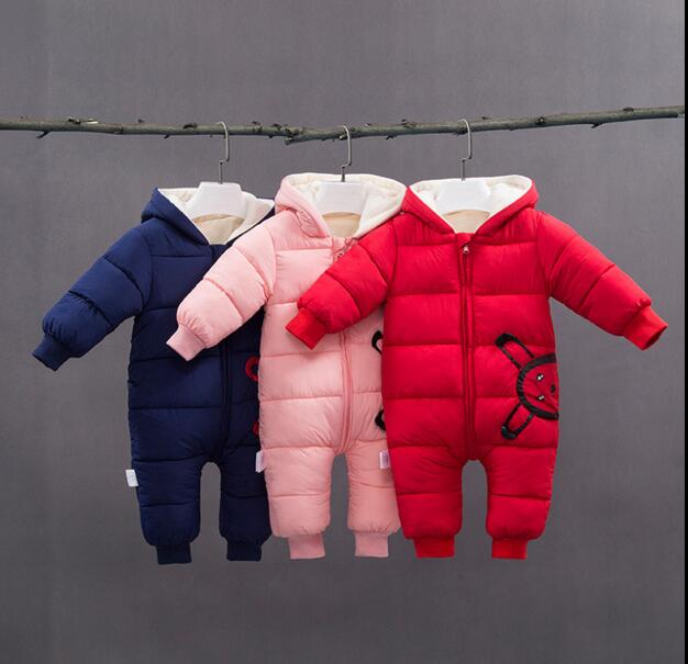 цена 2018 Winter Cotton Baby Rompers spring Winter Thick Boys Girls Warm Infant Kid Jumpsuit Children Outerwear Wear Newborn Clothes