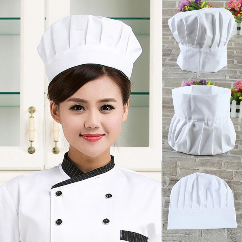 Unisex Adult Elastic White Chef Hat Baker BBQ Kitchen Cooking Hat Costume Cap Pastry anti-lampblack chef cap breathable cotton