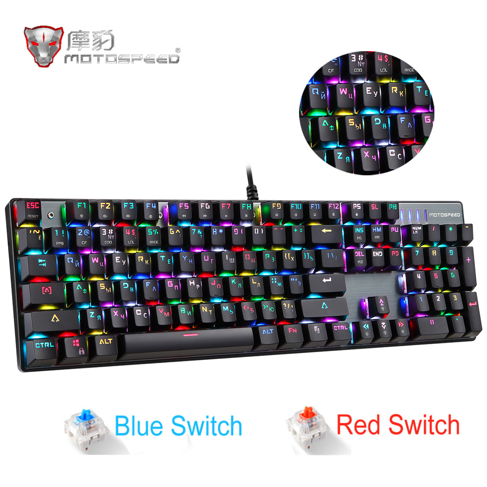 Original Motospeed CK104 Gaming Mechanical Keyboard Wired Metal Red Switch Blue Russian English LED Backlit RGB Gamer Computer