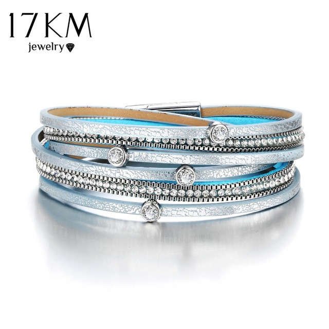 17KM New Fashion Crystal Beads Charms Bracelets & Bangles For Women Men Multiple