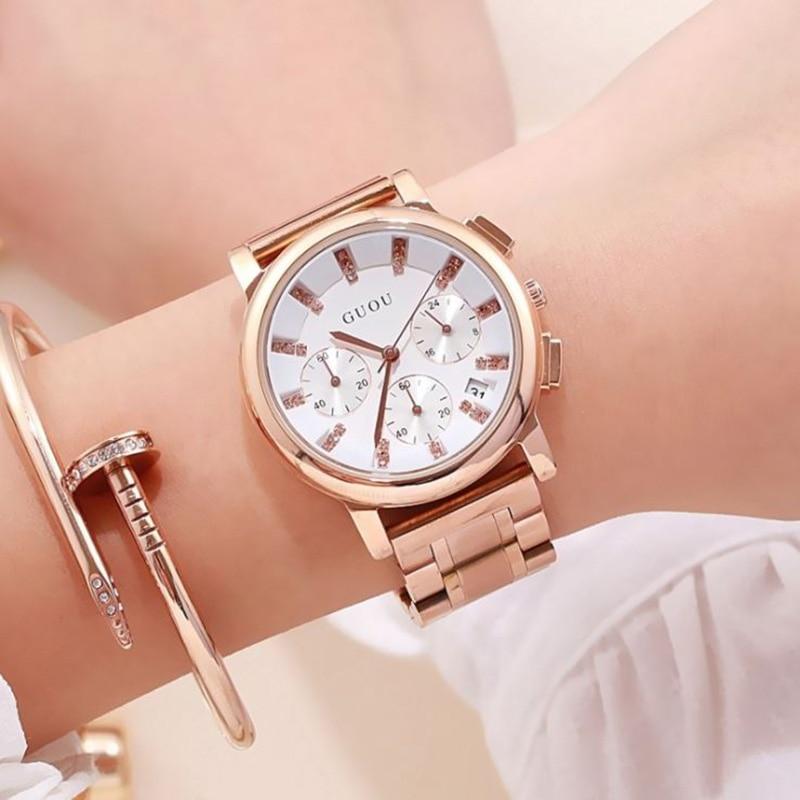 e53f4be8cee6 Mulheres Relógios Marca de Topo Pulso em Ouro Guou Moda Feminina ...