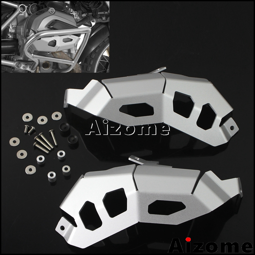 New Silver Motorcycle Water Cooled Cylinder Head Guards Protector Engine Guard Cover For BMW R1200 GS
