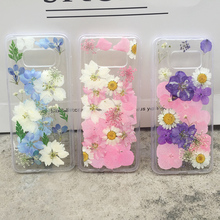 Transparent Dried Pressed Flowers Phone case For Samsung Galaxy S10 S9 S8 Plus Note 8 9 Fashion Handmade Real Back Cover