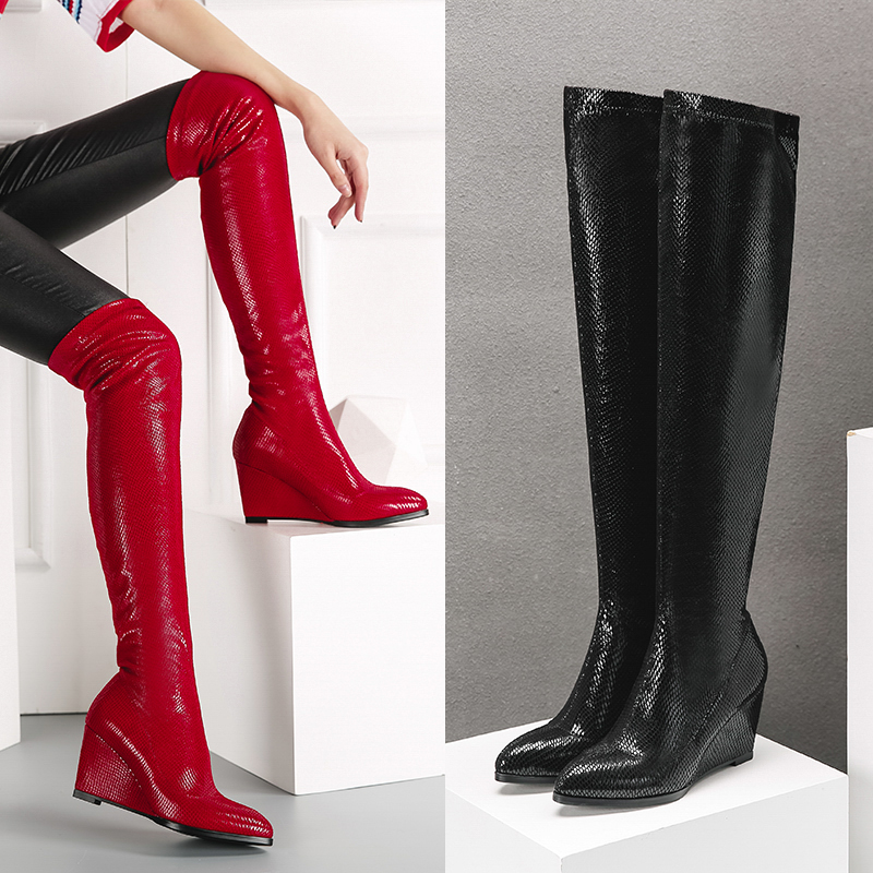 Popular Snakeskin Over Knee Pointed Toe Boots-Buy Cheap Snakeskin ...
