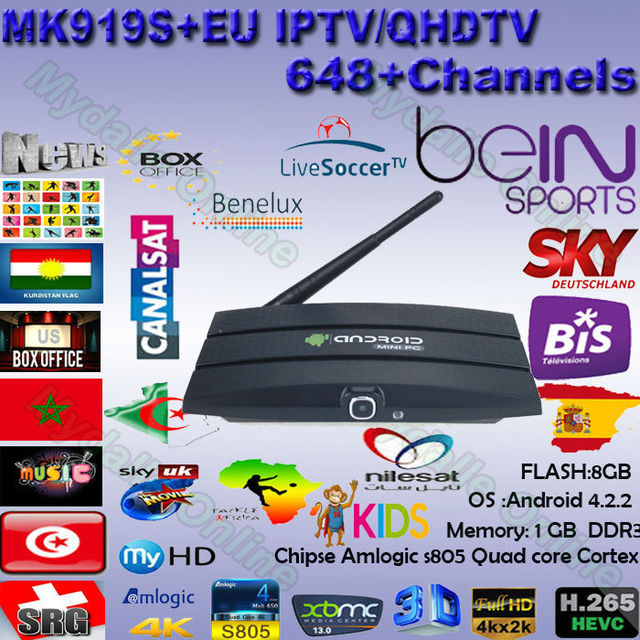 Best! Arabic iptv box MK919S android smart tv box receiver with camera iptv Europe 700+ channel kodi Youtube Bein/SKY sport