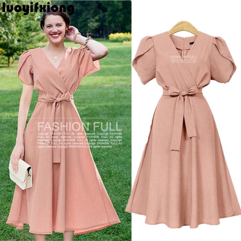 Luoyifxiong 2018 Summer Dress V-neck Big Bow Sashes Vintage Dress Vestidos Plus Size XL-5XL Short Sleeve Femininos Party Dresses