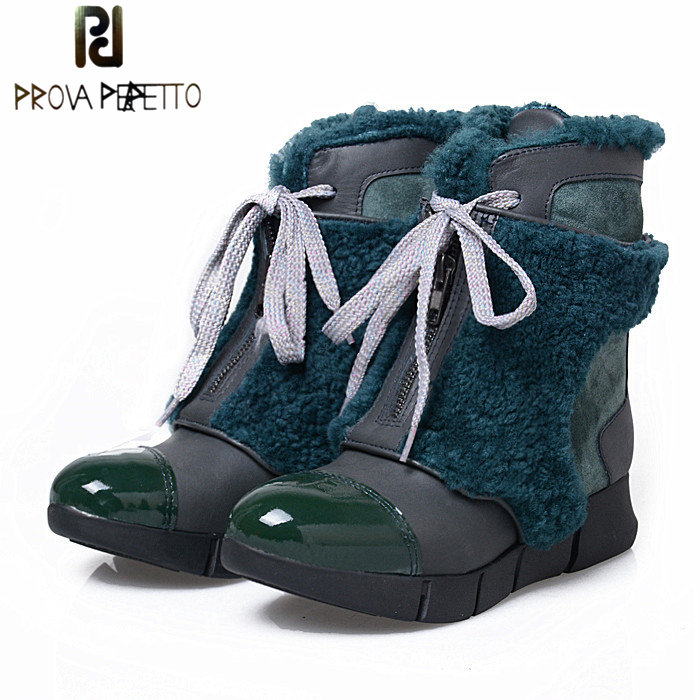 Prova Perfetto Genuine Leather With Fur Front Zipper Snow Boots Winter Warm Martin Shoes Flats Casual Women Ankle Boots prova perfetto winter women warm snow boots buckle straps genuine leather round toe low heel fur boots mid calf botas mujer
