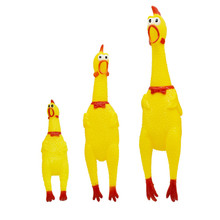 Pet Dog Toys Yellow Screaming Rubber Chicken Squeak Squeaker Chew