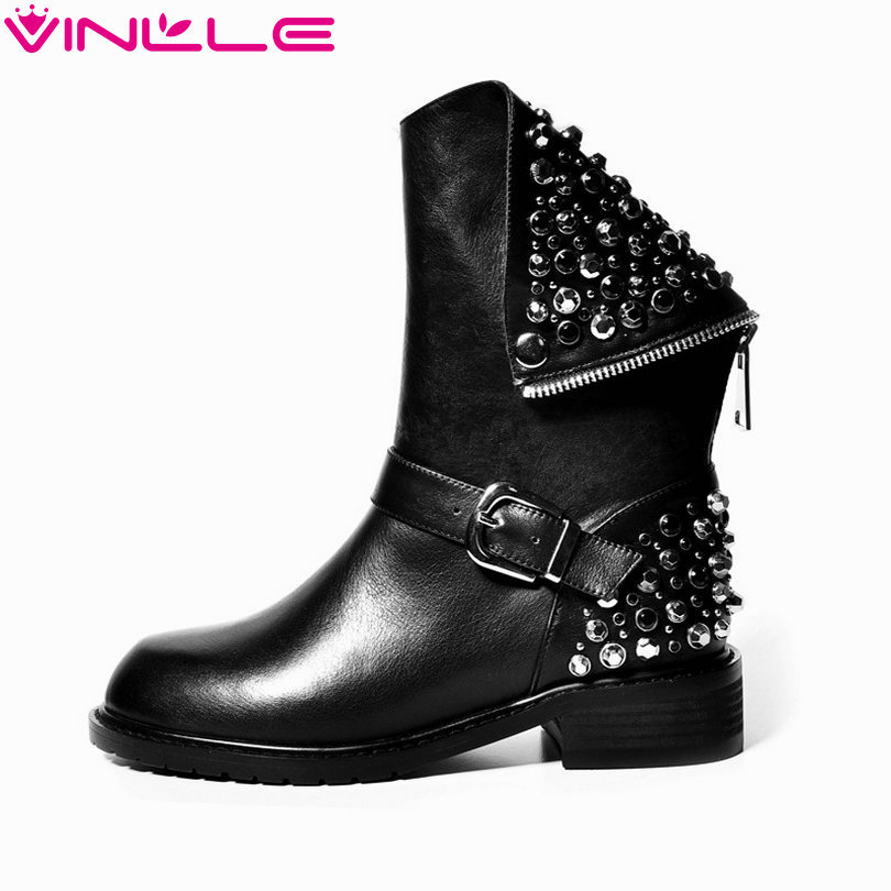 VINLLE Women Boot Square Low Heel PU+leather Rivets Zipper Solid Ankle Boots Western Style Round Lady Motorcycle Boot Size 34-43 vinlle women boot square low heel pu leather rivets zipper solid ankle boots western style round lady motorcycle boot size 34 43