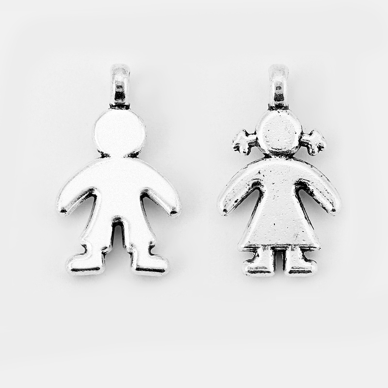 10pcs Fashion Charms Antique Silver Cute Boy And Girl Charms Pendant For Keychain Bracelet Necklace Jewelry Making Accessories