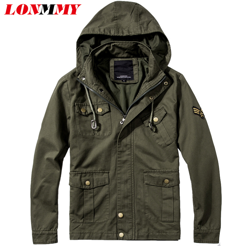 LONMMY 6XL Windbreaker Hoodies Mens jackets coat Cotton Outerwear Coats mens bomber jackets hooded Casual military Spring autumn