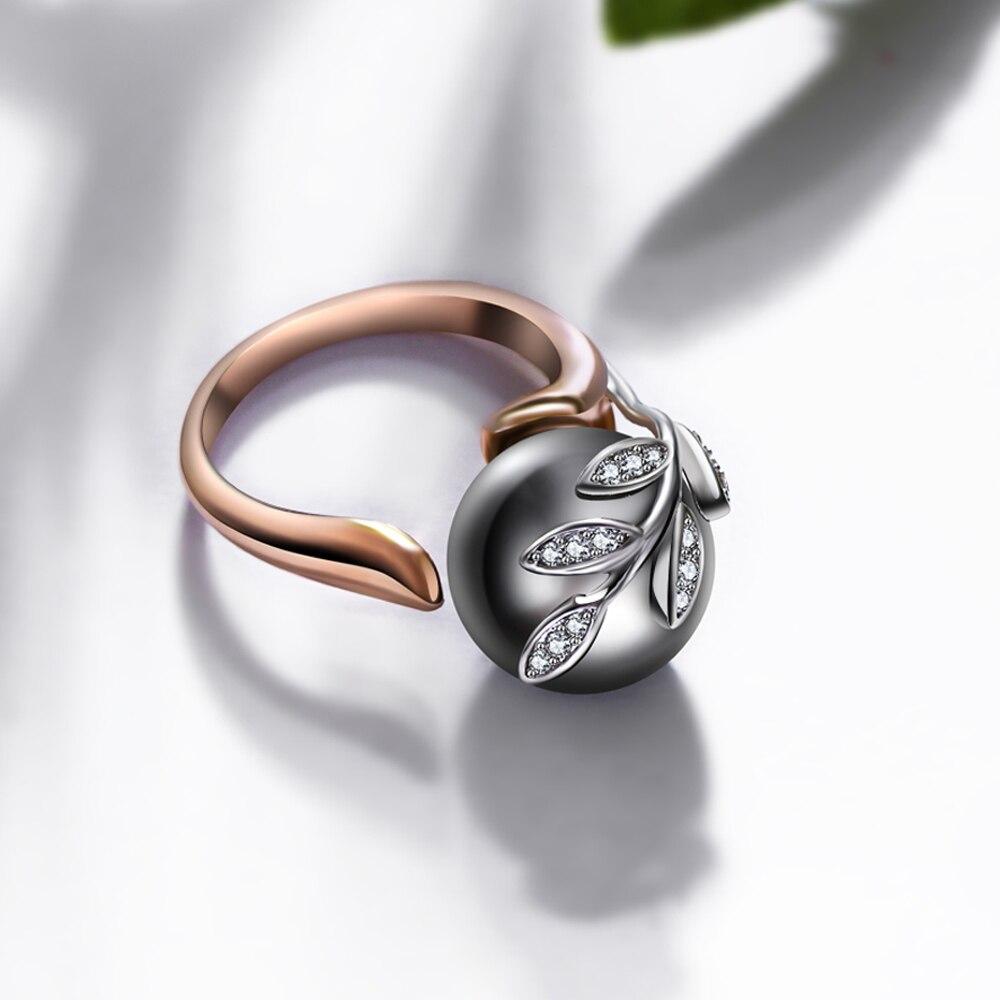 Rozā zelta gredzens ar pelēku pērli sievietēm Leaf Trendy - Modes rotaslietas - Foto 4
