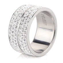 Wholesale High Quality Classic Stainless Steel 6 Row Crystal Jewelry Wedding Ring