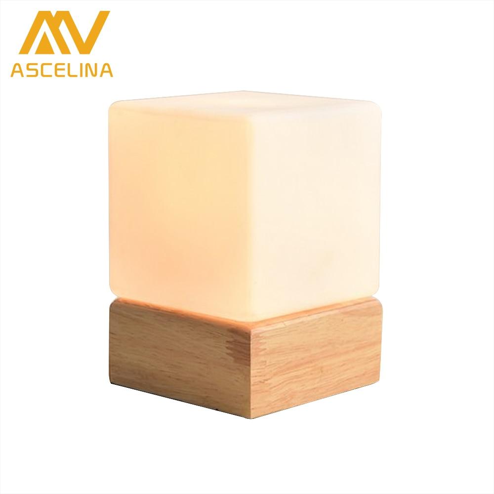 ASCELINA Nordic Modern Simple led Table Lamp Square Glass Chimney Creative Night Light Bedroom Living room Hotel College dorm