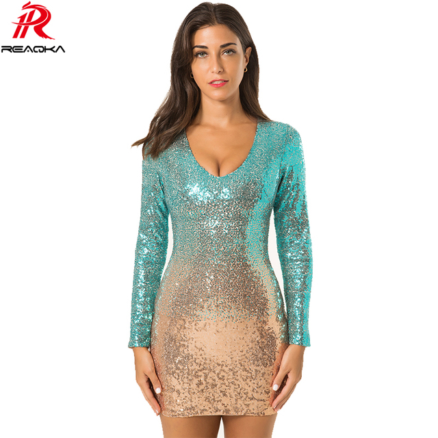 Reaqka Autumn Winter Gold Green Sequins Dress 2018 New Sexy V-neck Women Luxury Party Club Wear Mini Sequined Dresses Vestidos