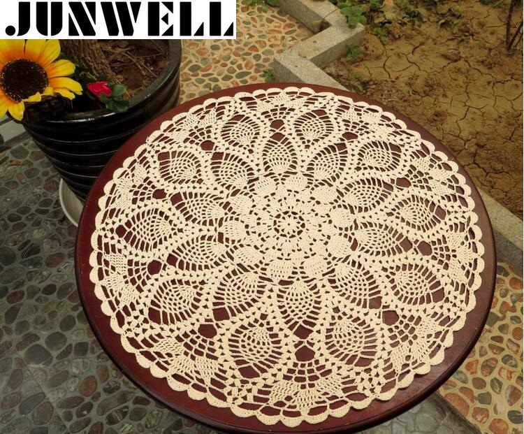 50/60 CM RD Shabby Chic 2 Өлшемдері Vintage Croached кесте Handmade Crochet Coasters Cotton Lace Cup Mat Placemat