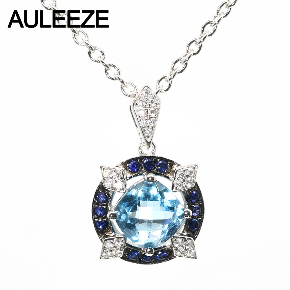 Vintage 2.8ct Natural Blue Topaz Pendants Necklace 925 Sterling Silver Jewelry Genuine Gemstone Pendant For Women 16' Chain umcho 3 4ct genuine natural swiss blue topaz gemstone pendants necklaces for women pure 925 sterling silver necklace jewelry