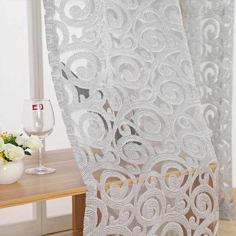 Luxury European Jacquard Sheer Curtains 3 Colors Window Tulle Curtains For Living Room Pteris Tulle For Bedroom Balcony WP051&2